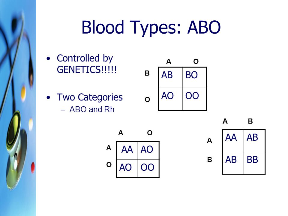 Blood Types: ABO Controlled by GENETICS!!!!! Two Categories AB BO AO