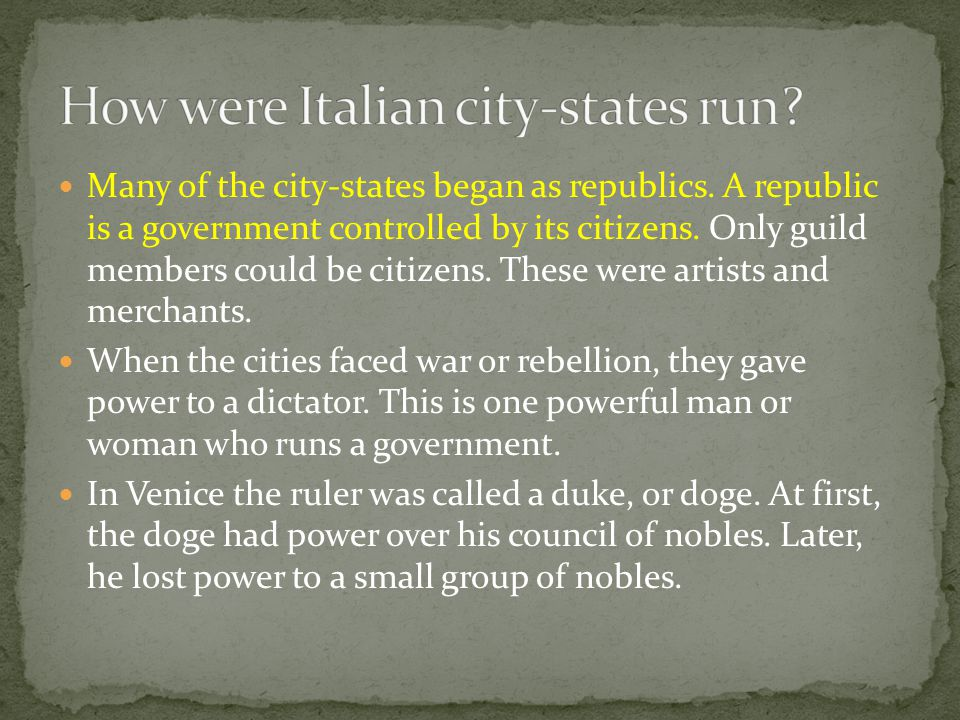 How were Italian city-states run