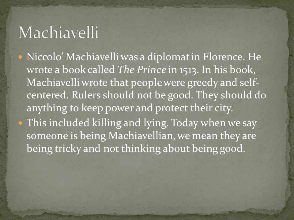 The prince machiavelli thesis