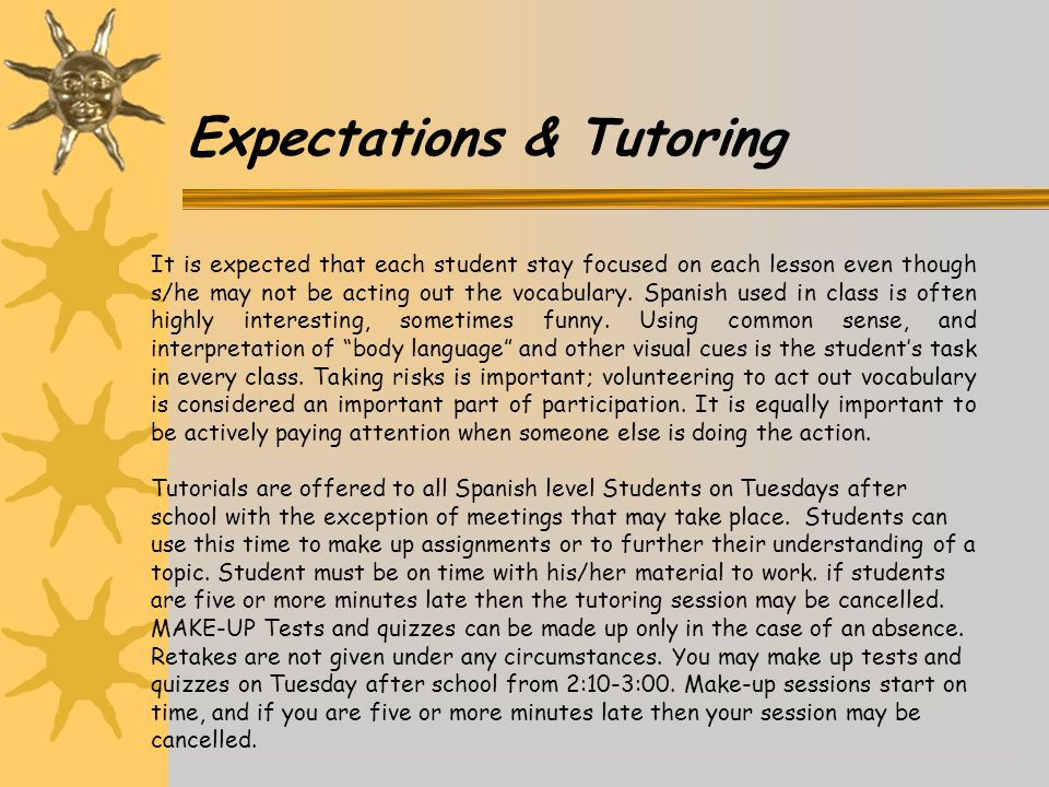Expectations & Tutoring