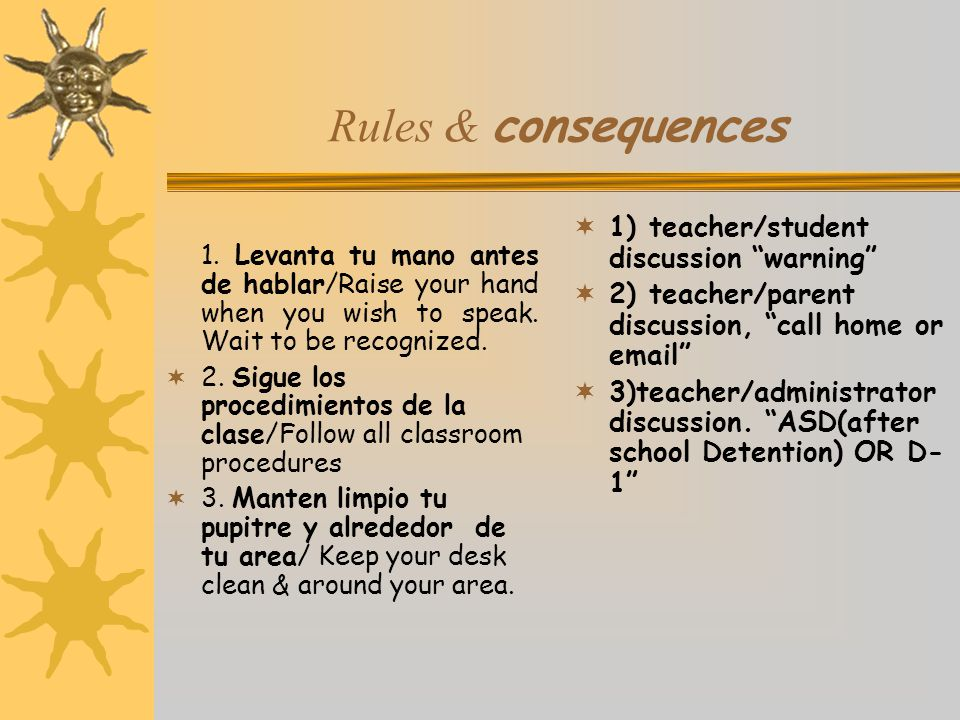 Rules & consequences 1) teacher/student discussion warning