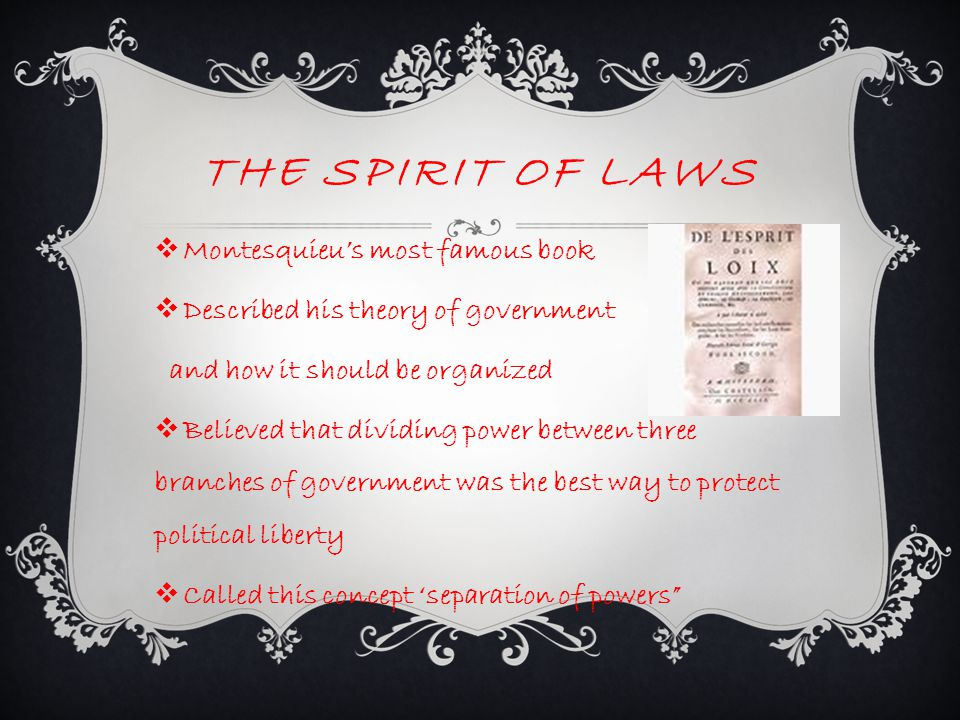 The Spirit Of Laws Montesquieu's most famous book