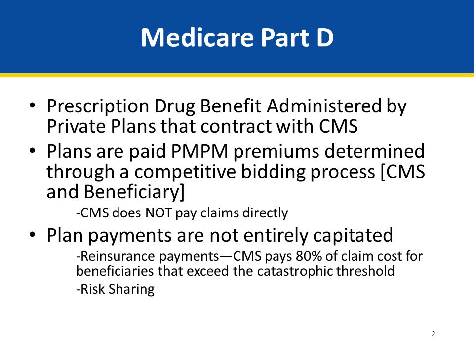 Medicare Part D Prescription Drug Benefit Administered by Private Plans that contract with CMS.
