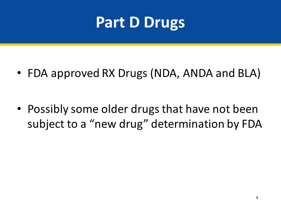 Part D Drugs FDA approved RX Drugs (NDA, ANDA and BLA)