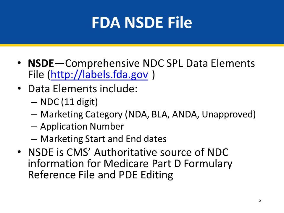 FDA NSDE File NSDE—Comprehensive NDC SPL Data Elements File (http://labels.fda.gov ) Data Elements include: