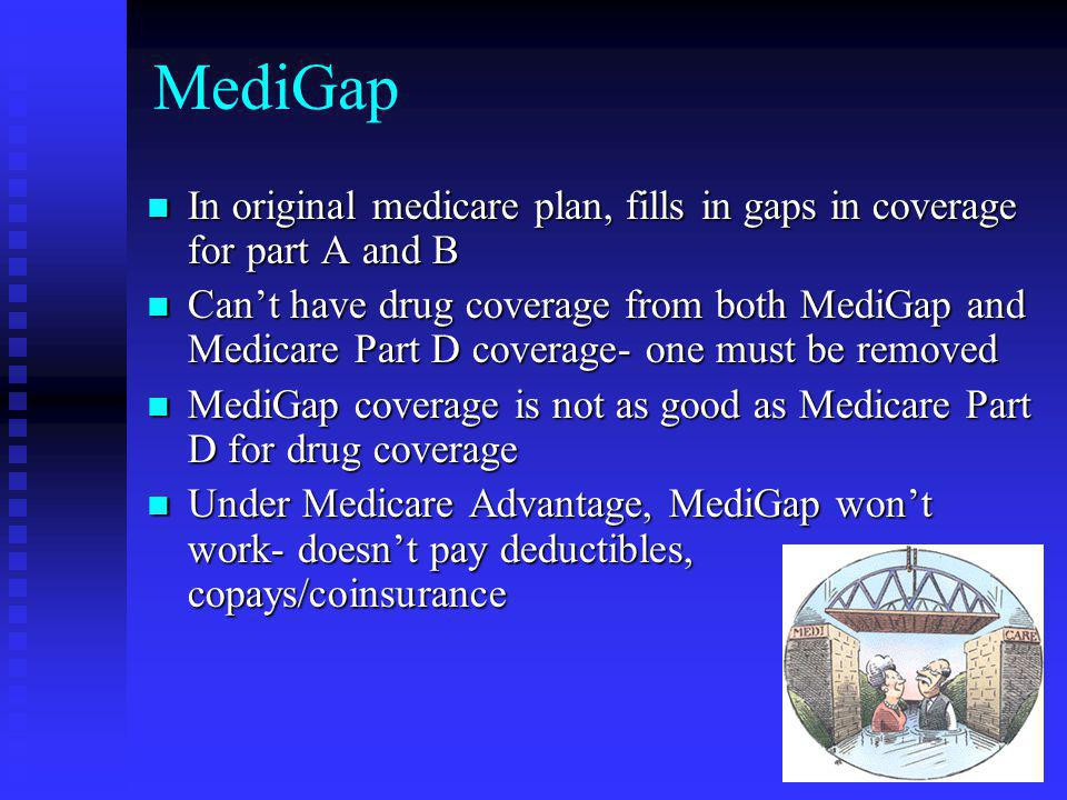 MediGap In original medicare plan, fills in gaps in coverage for part A and B.