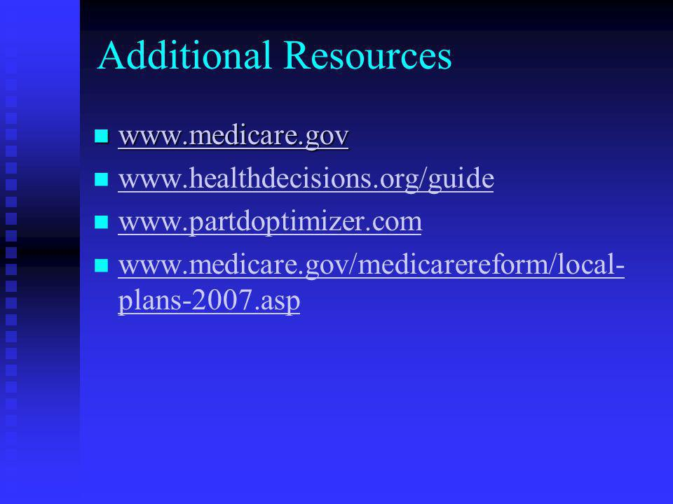 Additional Resources www.medicare.gov www.healthdecisions.org/guide