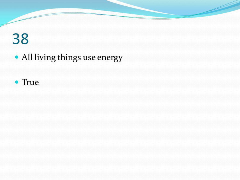 38 All living things use energy True