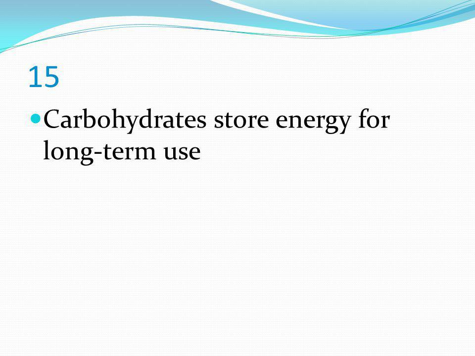 15 Carbohydrates store energy for long-term use