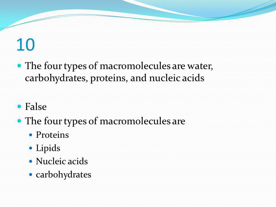 10 The four types of macromolecules are water, carbohydrates, proteins, and nucleic acids. False. The four types of macromolecules are.