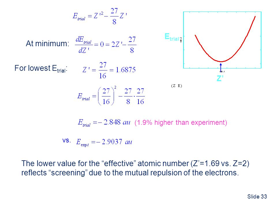 The lower value for the effective atomic number (Z'=1.69 vs. Z=2)