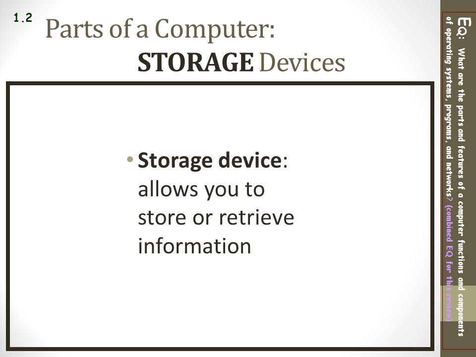 Parts of a Computer: STORAGE Devices