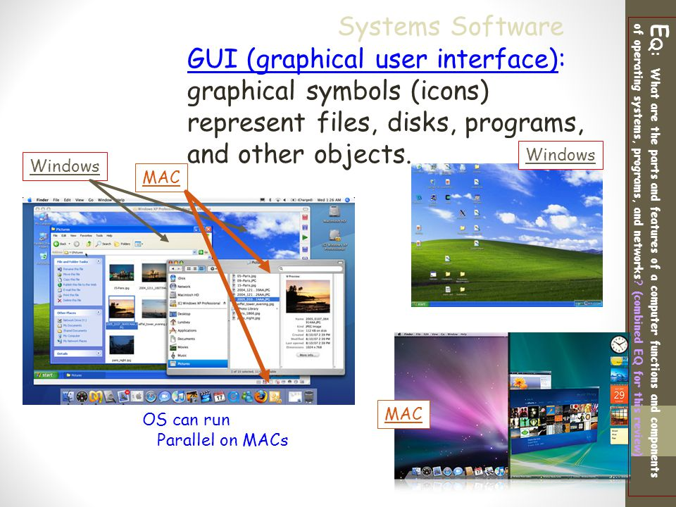 Systems Software GUI (graphical user interface): graphical symbols (icons) represent files, disks, programs, and other objects.
