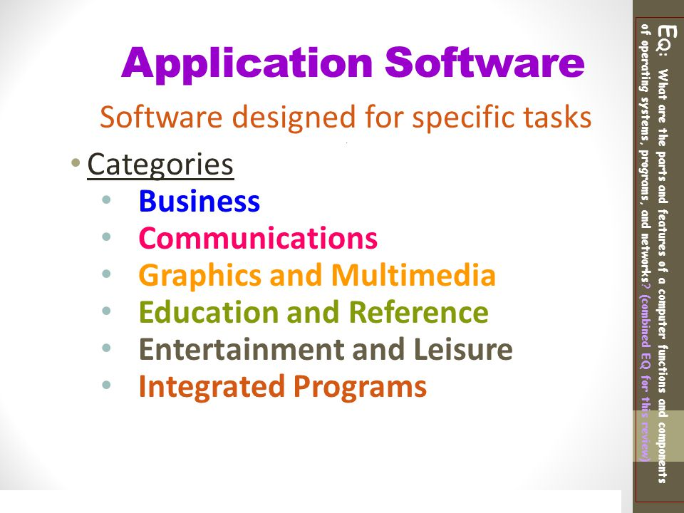 Software designed for specific tasks