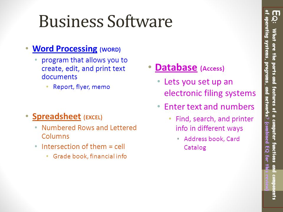 Business Software Database (Access) Word Processing (WORD)