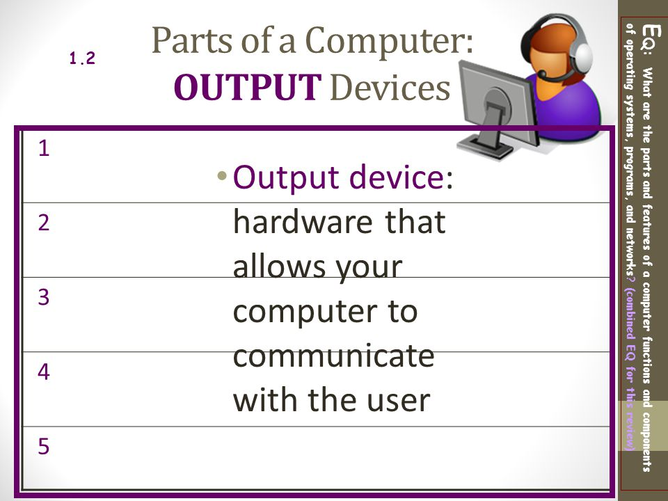 Parts of a Computer: OUTPUT Devices
