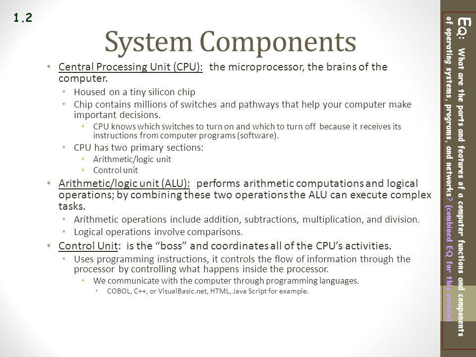 1.2 System Components. Central Processing Unit (CPU): the microprocessor, the brains of the computer.