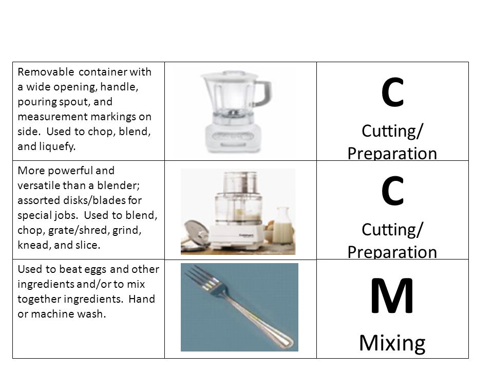 M C C Mixing Cutting/ Preparation Cutting/ Preparation