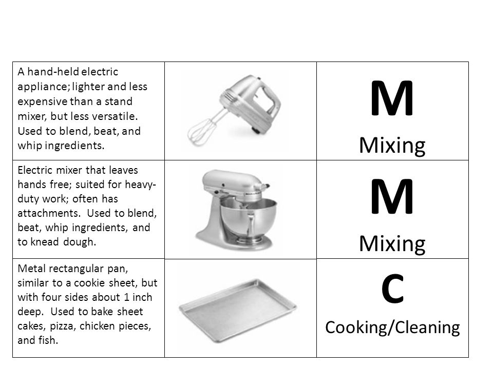 M M C Mixing Mixing Cooking/Cleaning
