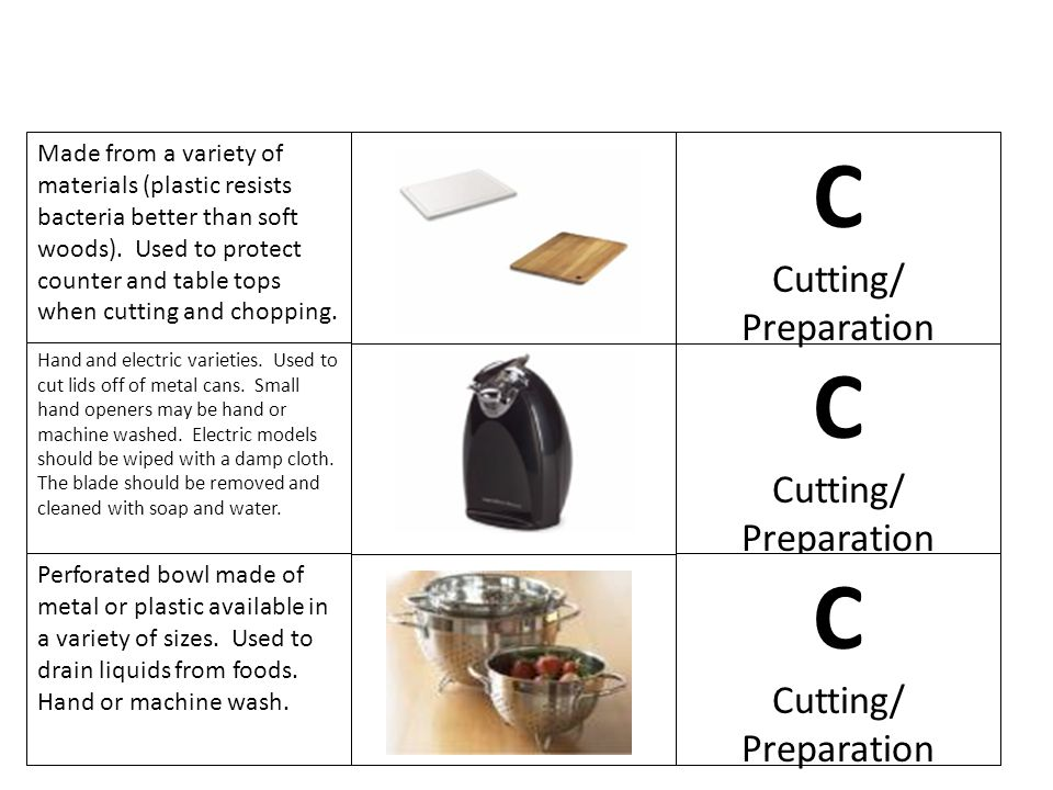 C C C Cutting/ Preparation Cutting/ Preparation Cutting/ Preparation