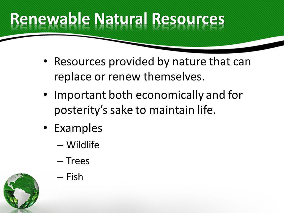 Renewable Natural Resources