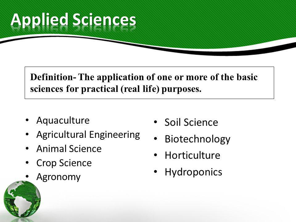 Applied Sciences Soil Science Biotechnology Horticulture Hydroponics