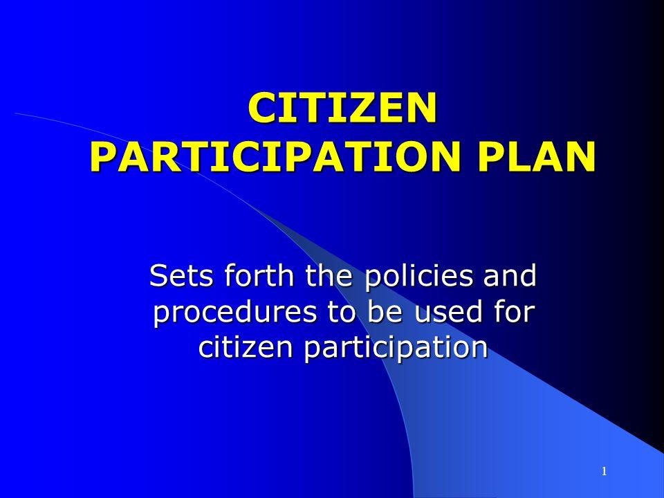 CITIZEN PARTICIPATION PLAN