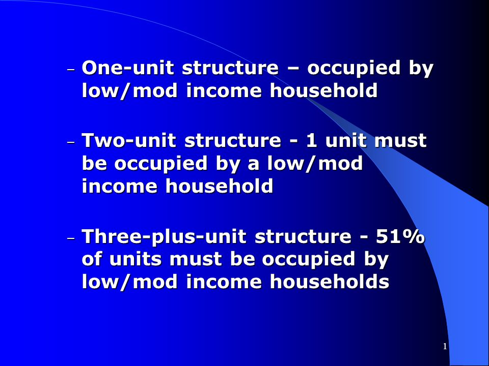 One-unit structure – occupied by low/mod income household