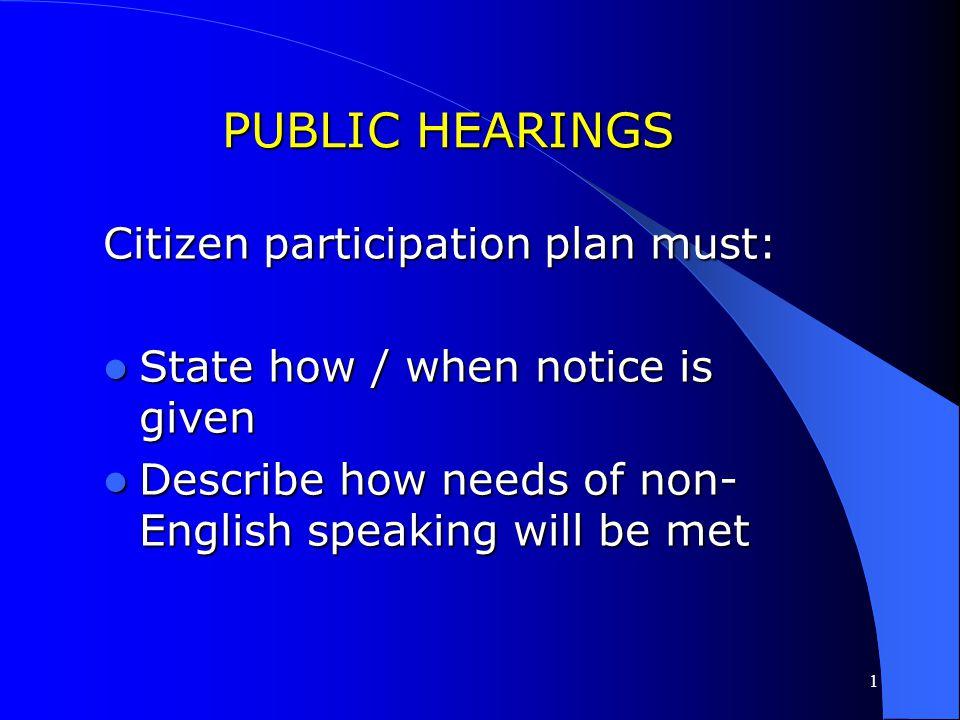 PUBLIC HEARINGS Citizen participation plan must:
