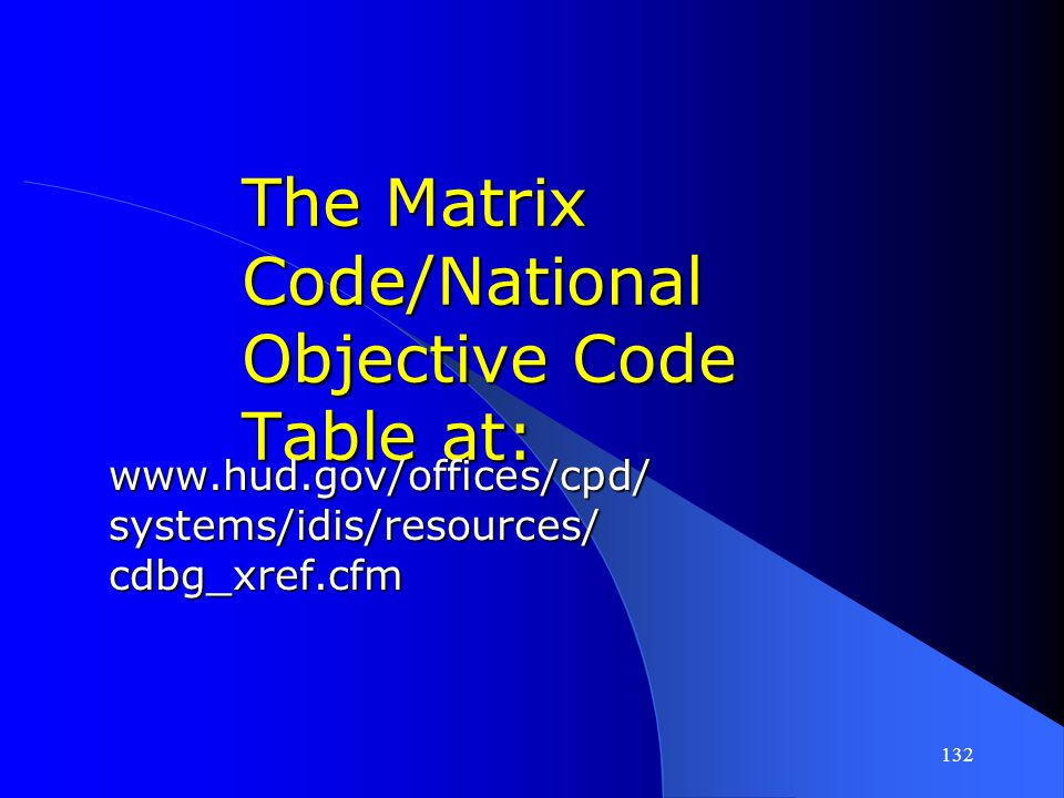 The Matrix Code/National Objective Code Table at: