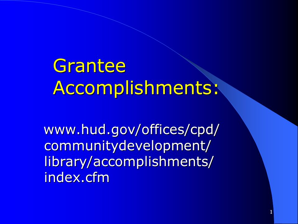 Grantee Accomplishments: