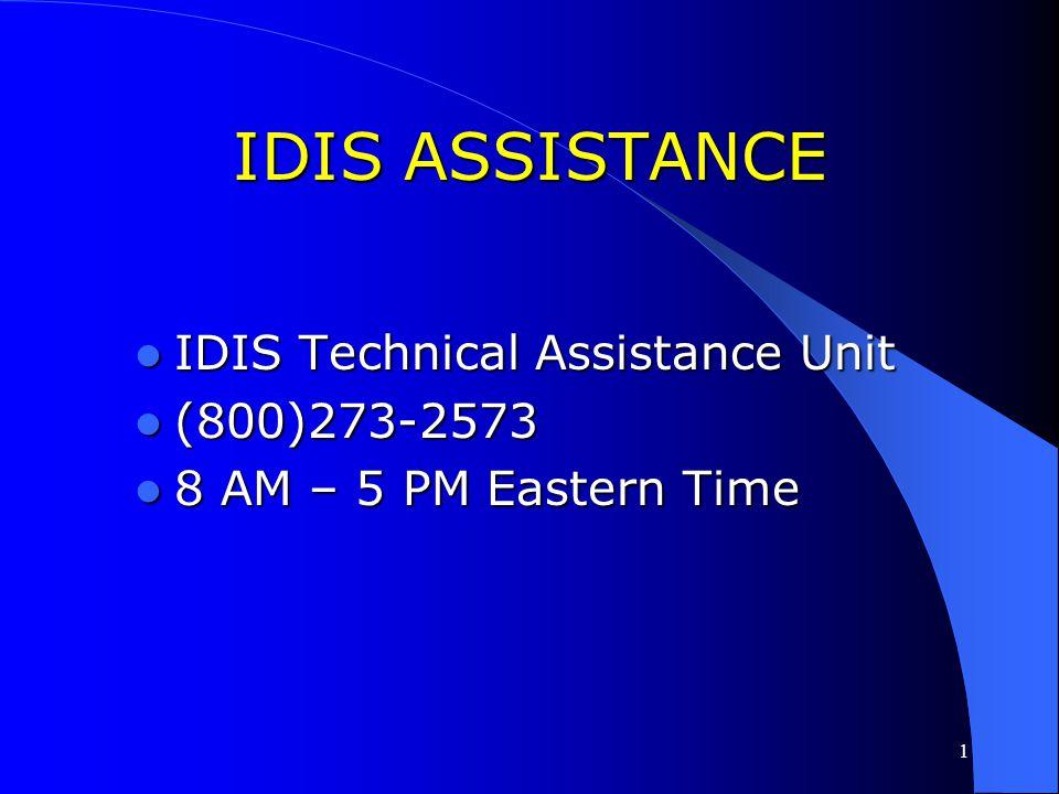 IDIS ASSISTANCE IDIS Technical Assistance Unit (800)273-2573
