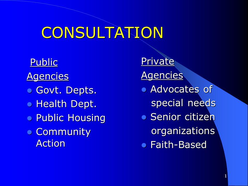 CONSULTATION Private Public Agencies Agencies Advocates of