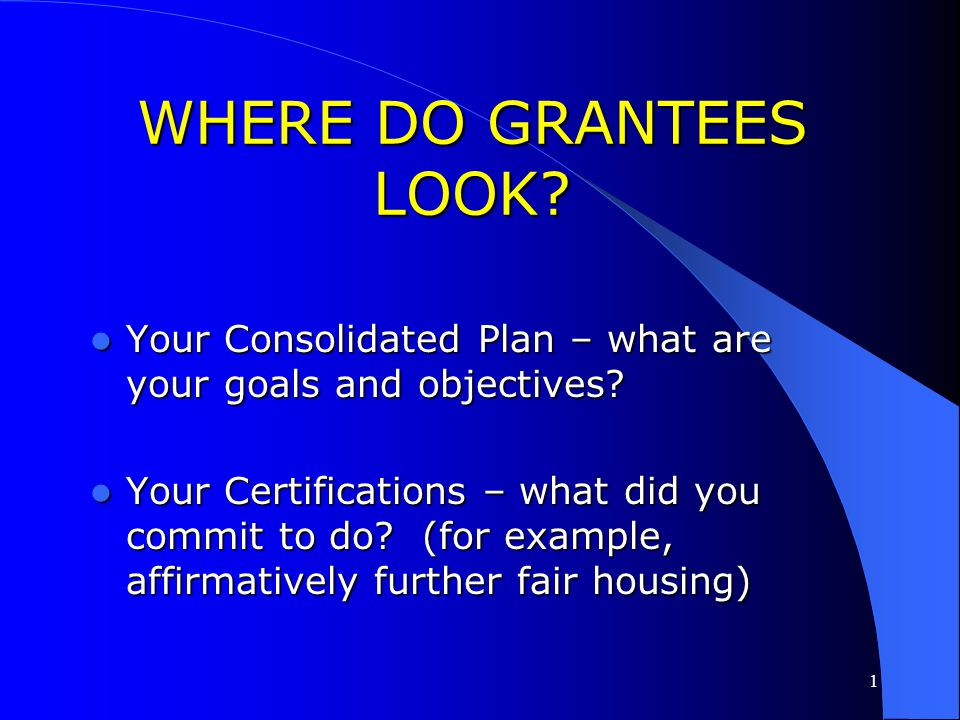 WHERE DO GRANTEES LOOK Your Consolidated Plan – what are your goals and objectives