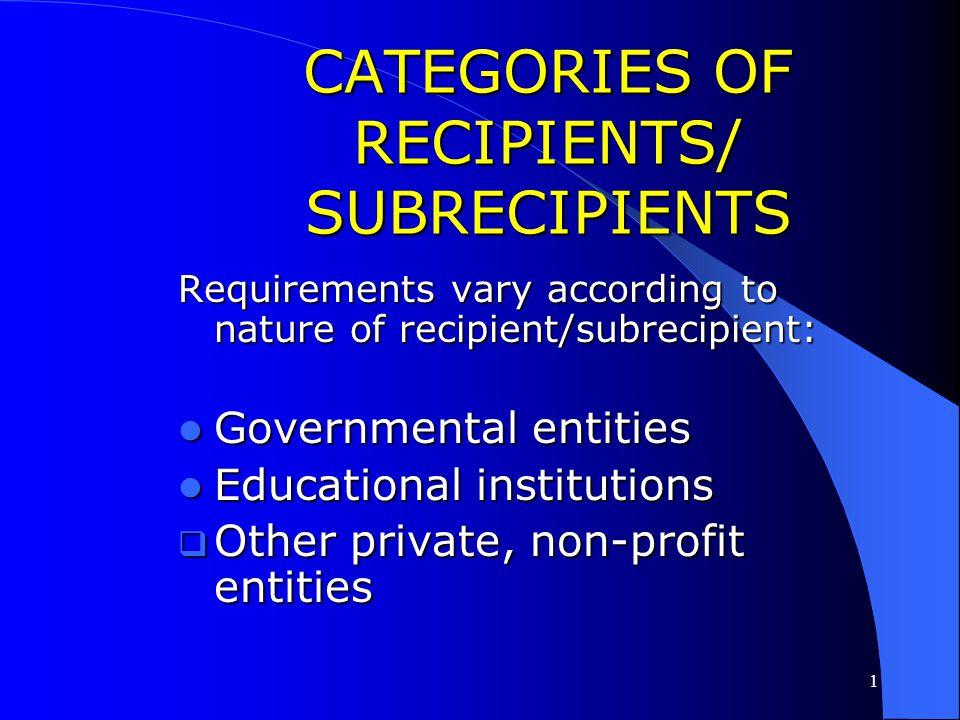 CATEGORIES OF RECIPIENTS/ SUBRECIPIENTS