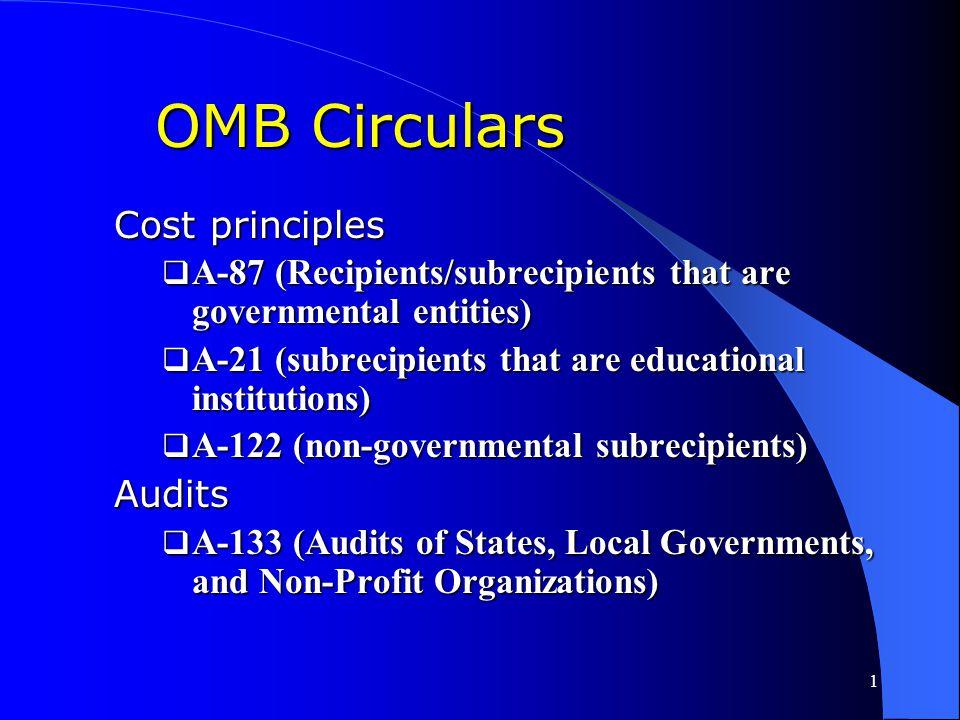 OMB Circulars Cost principles Audits