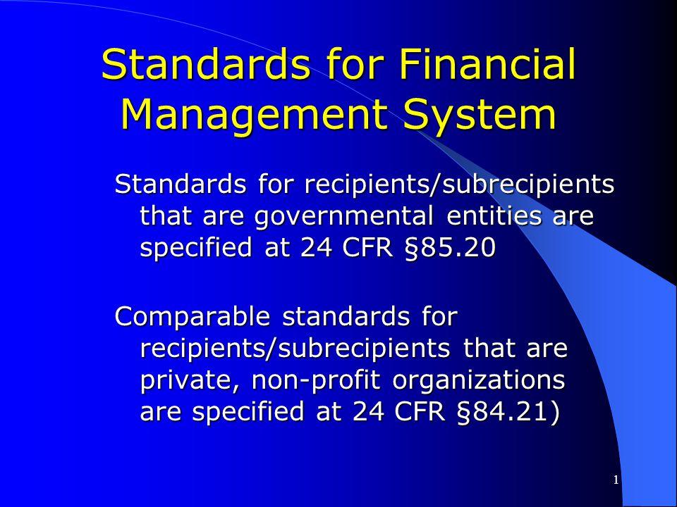 Standards for Financial Management System