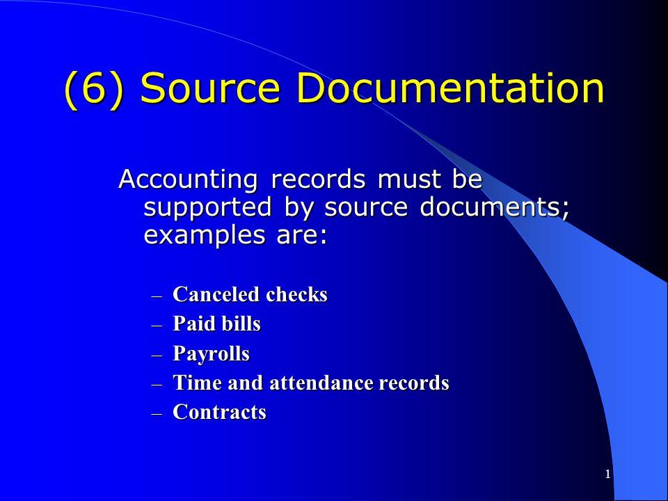 (6) Source Documentation