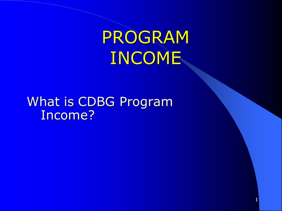 PROGRAM INCOME What is CDBG Program Income Pages in Book: