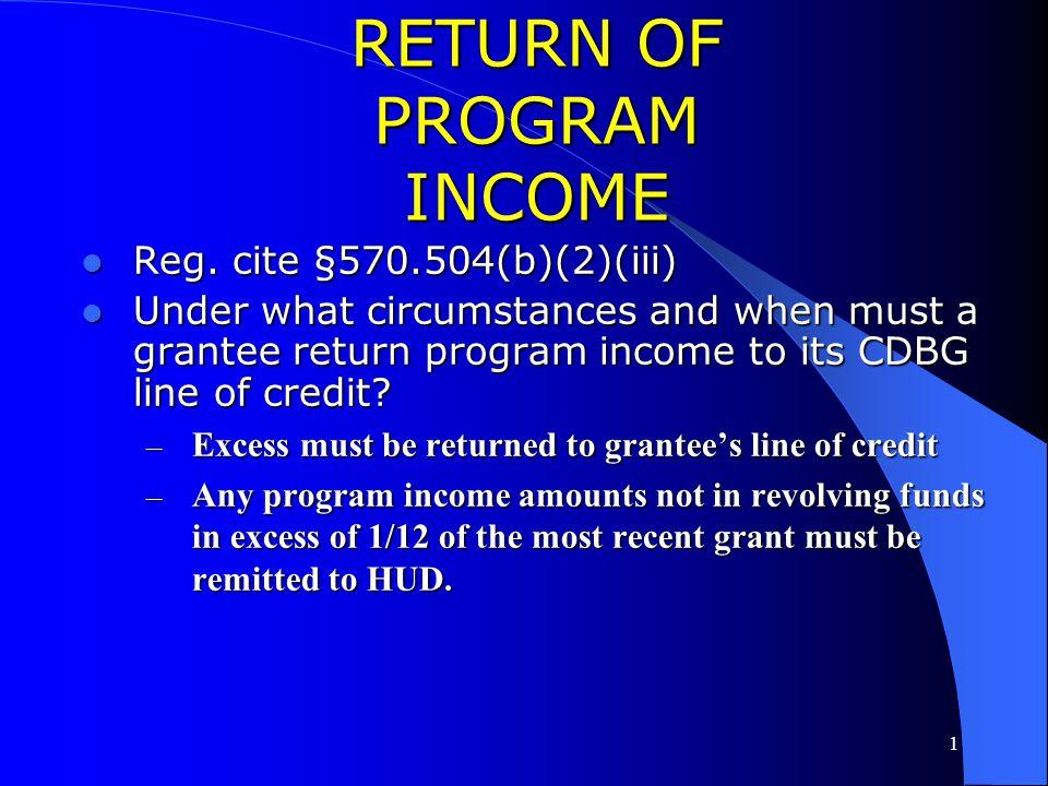 RETURN OF PROGRAM INCOME