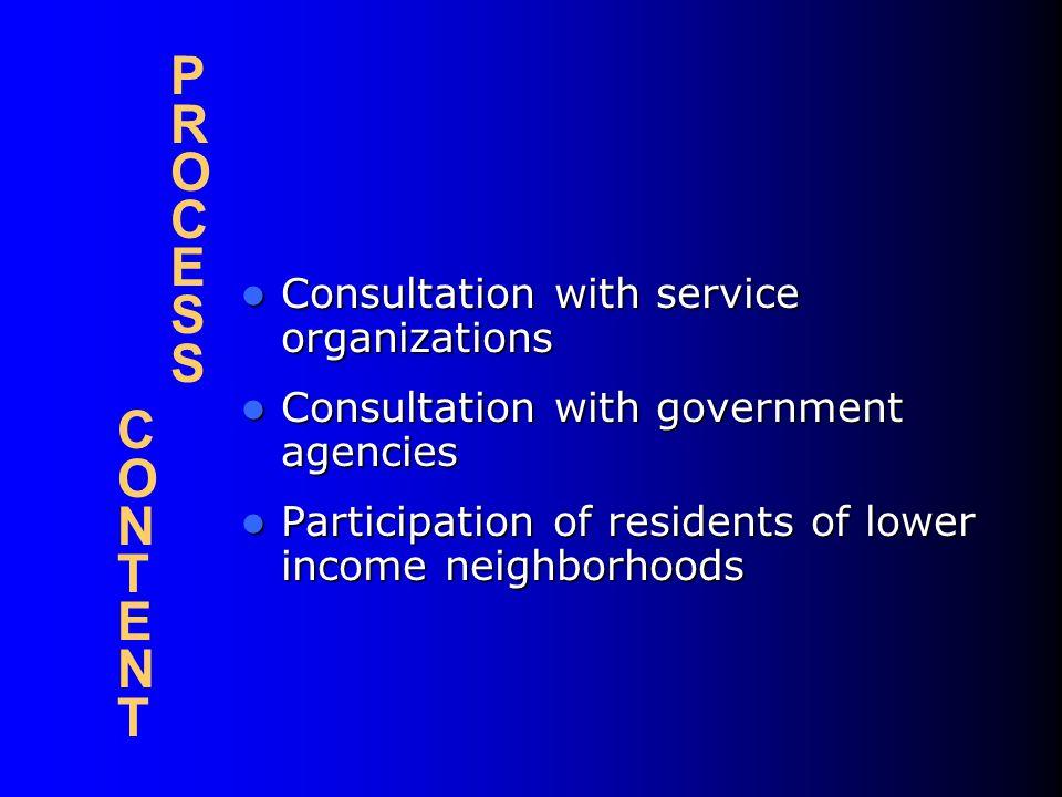 P R O C E S S C O N T E N T Consultation with service organizations