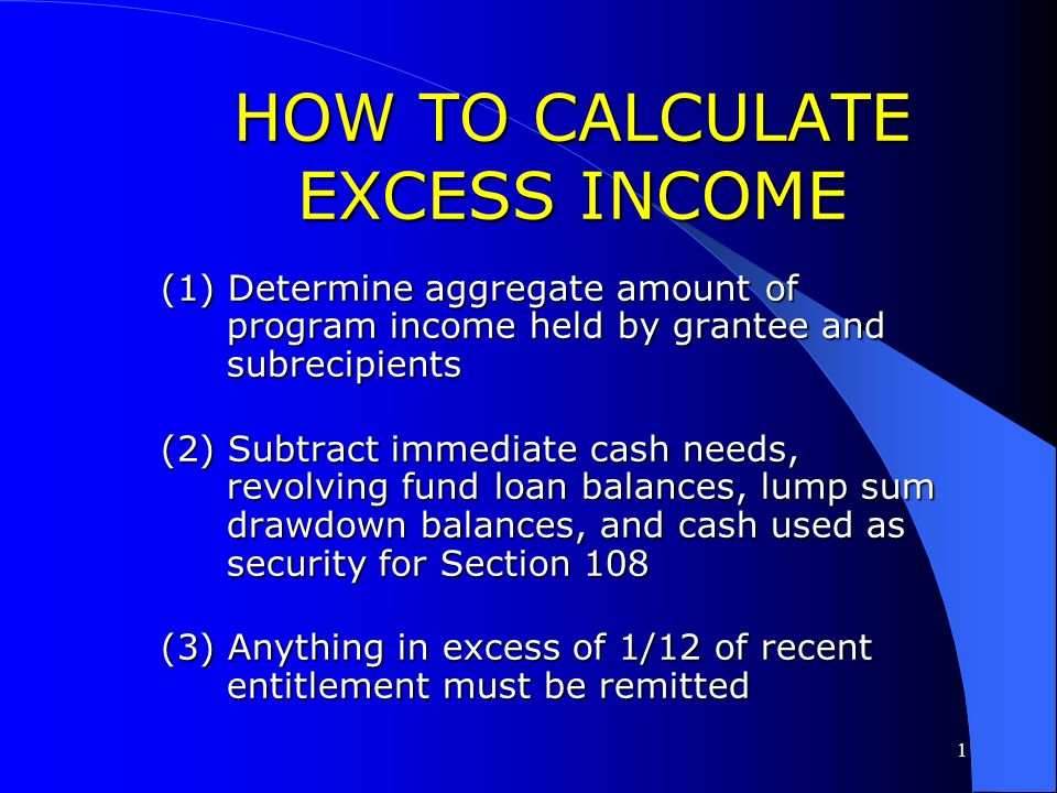 HOW TO CALCULATE EXCESS INCOME