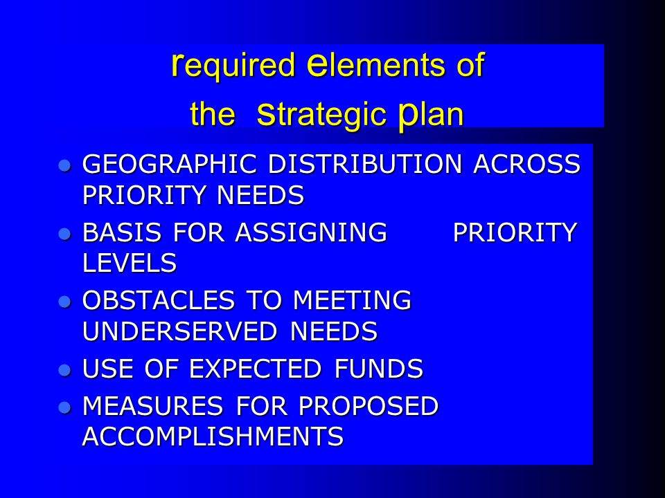 required elements of the strategic plan