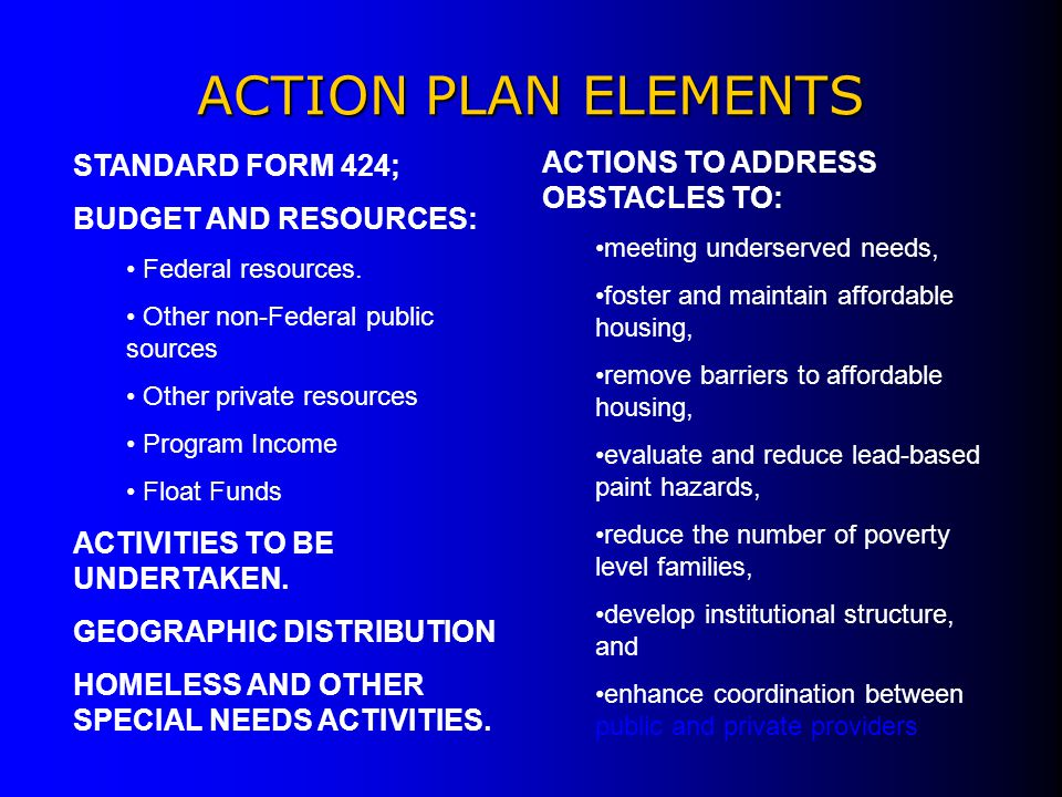ACTION PLAN ELEMENTS ACTIONS TO ADDRESS OBSTACLES TO: