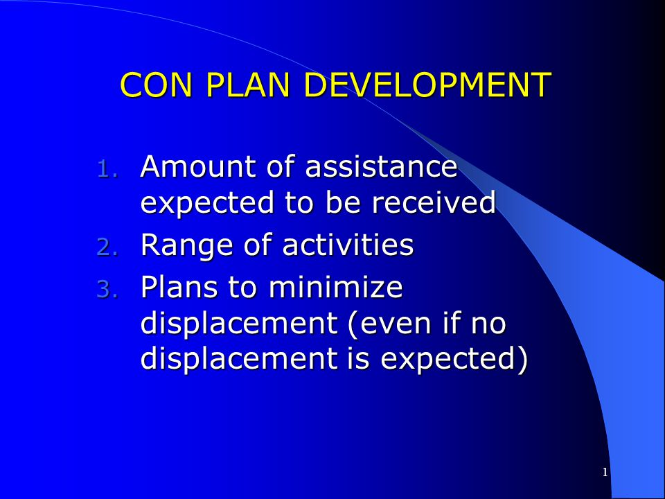 CON PLAN DEVELOPMENT Amount of assistance expected to be received