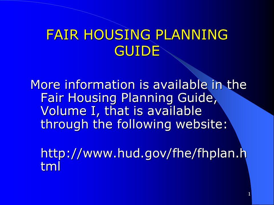 FAIR HOUSING PLANNING GUIDE