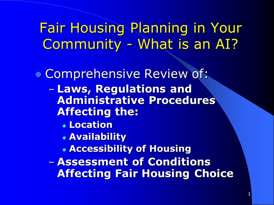 Fair Housing Planning in Your Community - What is an AI