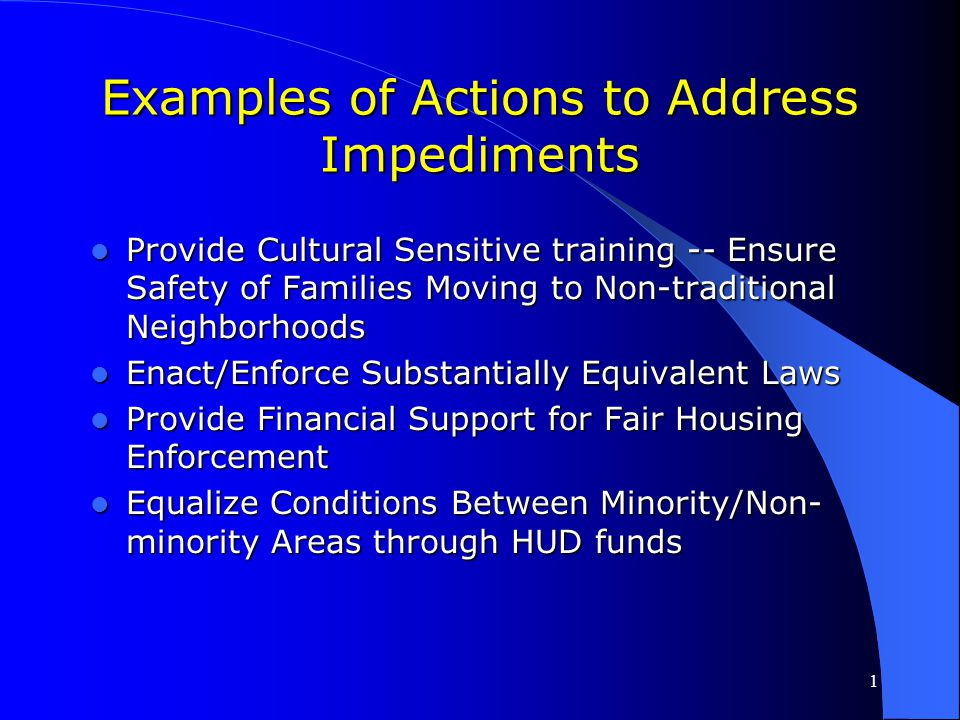 Examples of Actions to Address Impediments