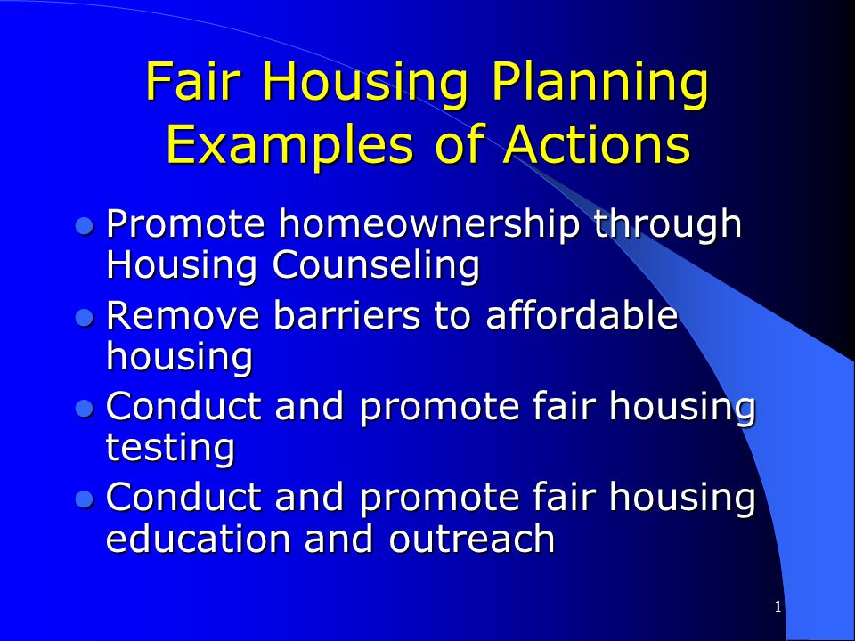 Fair Housing Planning Examples of Actions