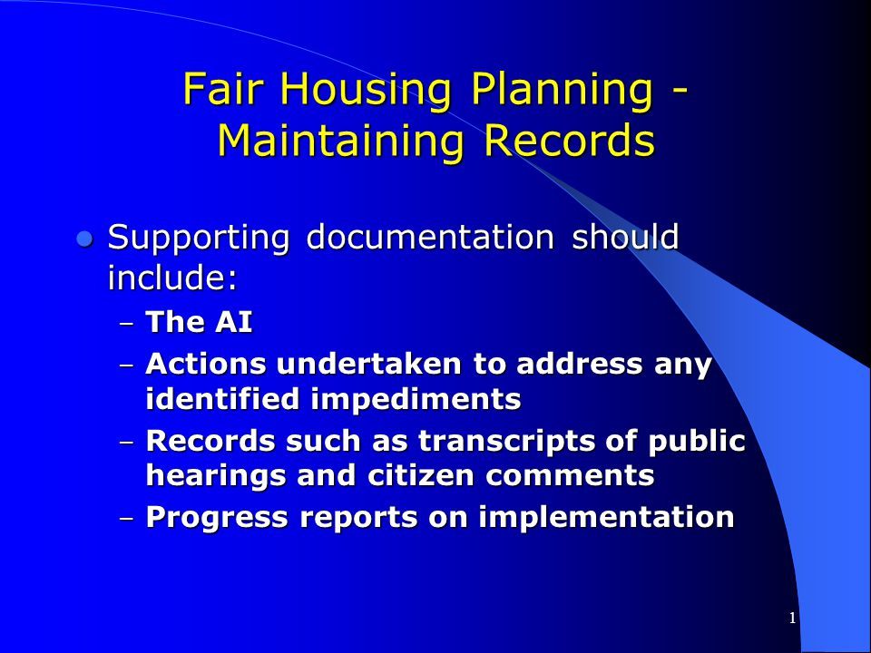 Fair Housing Planning - Maintaining Records